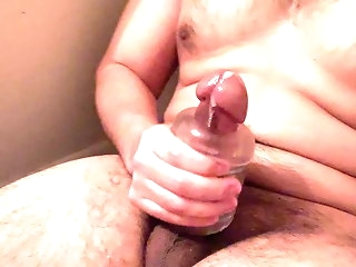 bear Explosive cumshot connected with knick-knack amateur